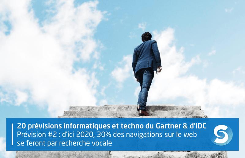 20 prévisions technologiques et informatiques du Gartner et d'IDC. Prévision #2 : d'ici 2020, 30% des navigations sur le web se feront par recherche vocale